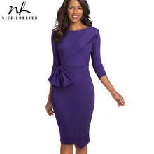 Nice Forever Vintage Elegant Wear to Work with Bow Pure Color Vestidos Business Party Bodycon Winter Women Office Dress B545
