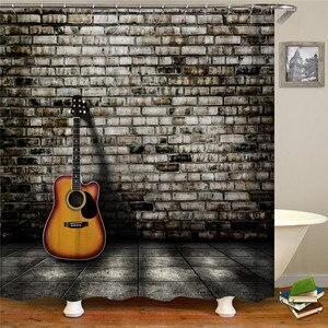 Современная ретро-гитара, музыкальная занавеска для душа, занавеска для ванной комнаты, высокое качество, водонепроницаемый экран для ванн...