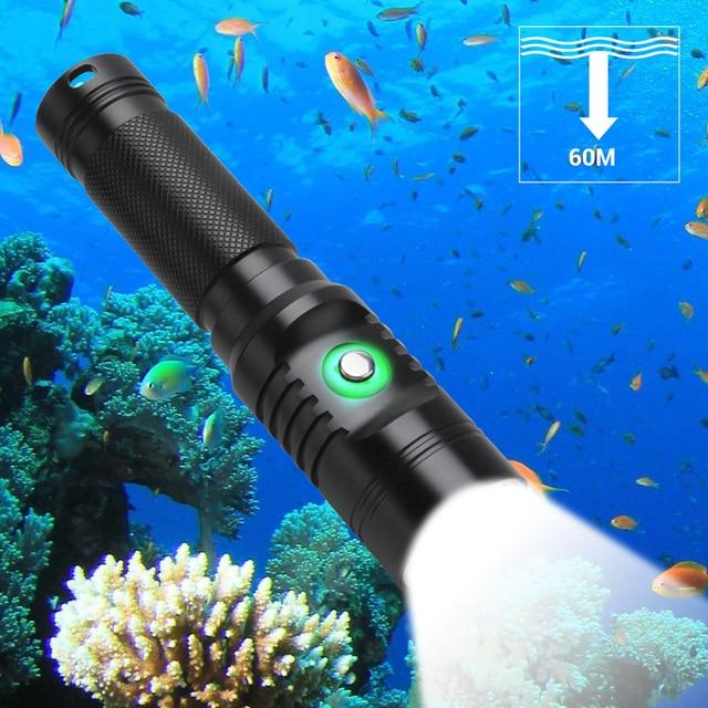 צלילה LED פנס צלילה 80 מטר XM L2 LED 21700 עמיד למים IPX8 מתחת למים קמפינג Lanterna לפיד מנורת אור