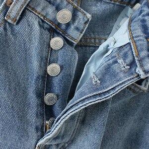Image 3 - جينز نسائي من GOPLUS جينز مُمزق مقاس كبير للأصدقاء سروال مستقيم من قماش الدنيم عالي الخصر سروال مستقيم من قماش الدنيم C6939