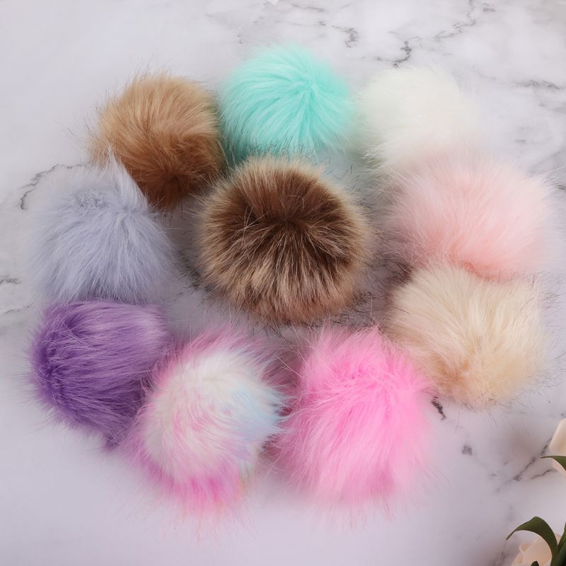 12pcs Faux Raccoon Fur Pom Pom Ball 10cm with Elastic Band DIY Knitting Hat Bags