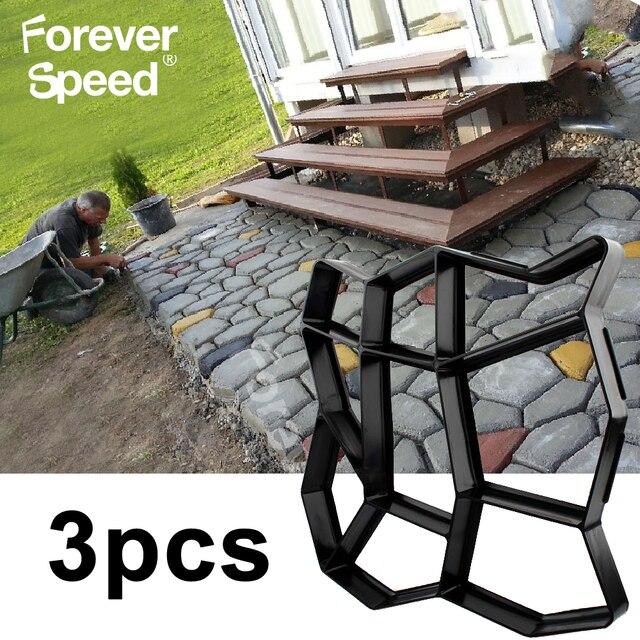 3 sztuk kostki brukowej formy chodnikowe betonowe formy z tworzywa sztucznego ścieżki Patio cementu DIY nawierzchni plastikowa forma posadzka ogrodowa drogi krokowy
