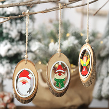 3Pcs/Lot Wooden Christmas Pendants Luminous Xmas Tree Drop Ornament Holiday Home Lighting For Party Decoration home