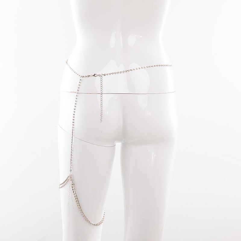 סקסי מלא ריינסטון רגל ירך שרשרות ביקיני Crossover רתם מותן בטן גוף שרשרות אופנה נשים Rhinestones גוף תכשיטים