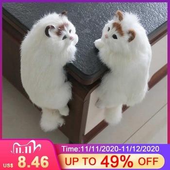 Cute Plush Cat Art Ornaments Figurine Home Desk TV Hanging Toys Simulation Cat Figure Statue Home Decor Crafts Gifts
