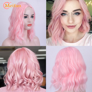 MEIFAN Short Water Wave Bob Cosplay Anime Middle Part Wig for Women Heat Resistant Synthetic Pink Golden Daily False Hair