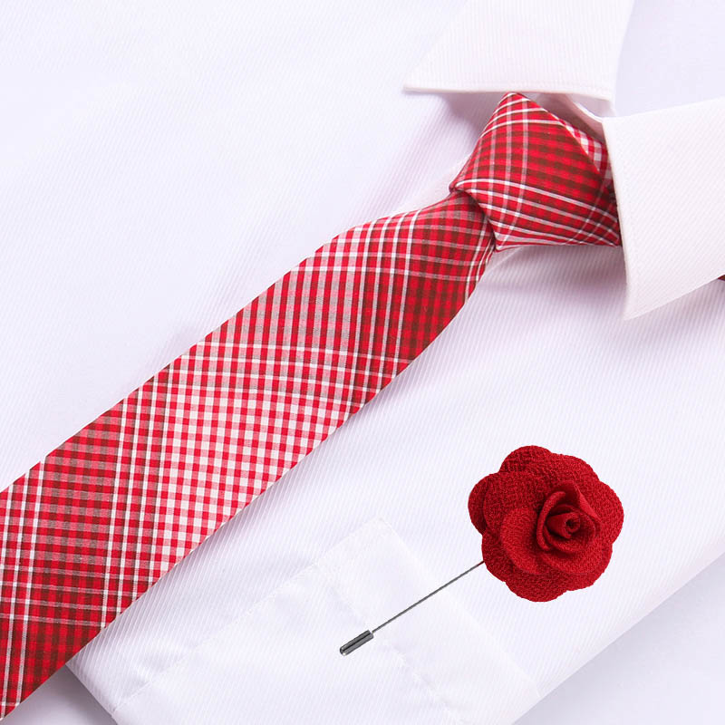6.5cm Mens Business Cotton Tie Formal Red Gromertric  Jacquard Wedding Necktie Narrow Classic & Flower Pin