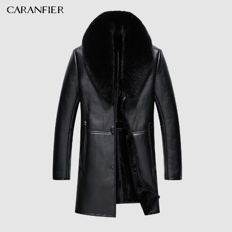 CARANFIER Faux Leather Jacket Mens Winter Velvet Thick Jacket Male Middle-aged Leather Fur Collar Detachable Men Clothing 4xL