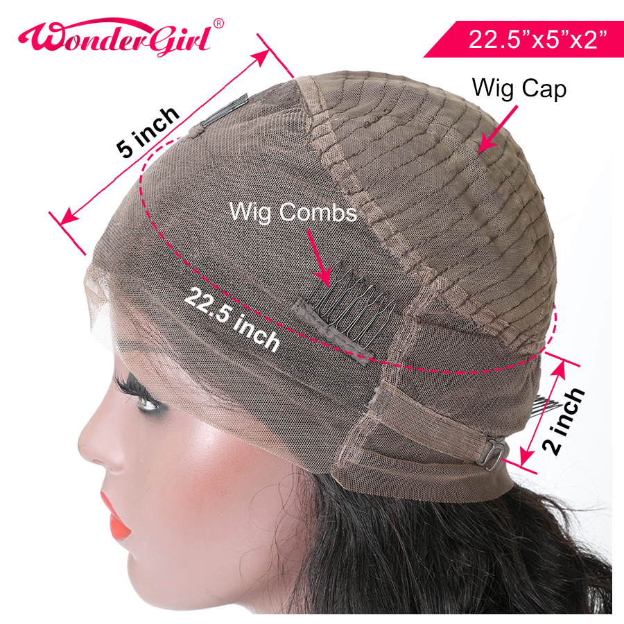 Wonder girl Transparent Lace Wig 360 Lace Frontal Wig Pre Plucked With Baby Hair Peruvian Straight Lace Front Human Hair Wigs