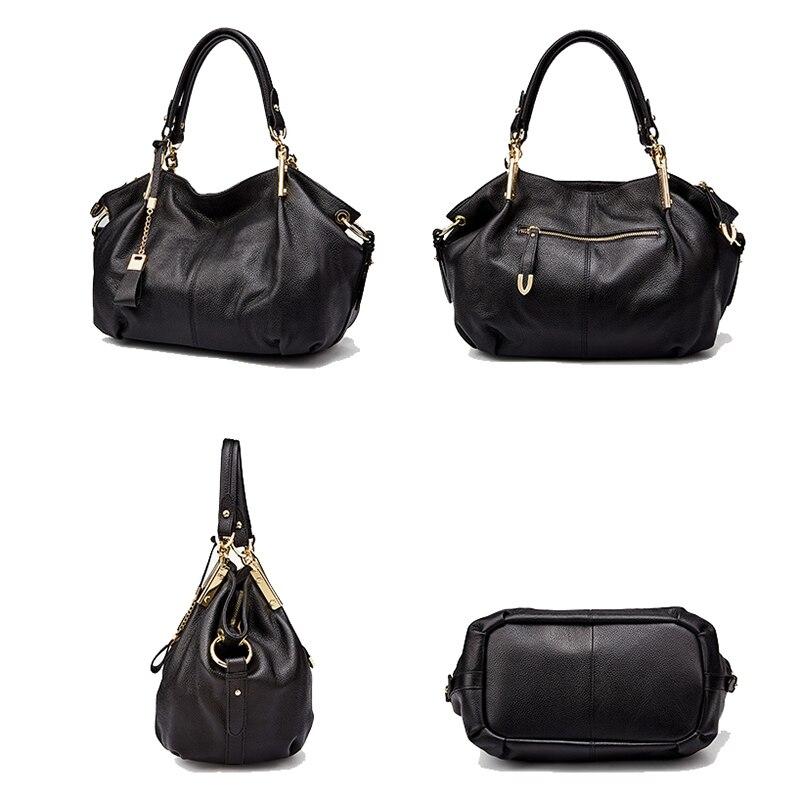 Bureau dames sacs à main Qiwang véritable sac à bandoulière en cuir véritable marque de luxe noir sac à main pour femmes casual fourre tout grande capacité - 2