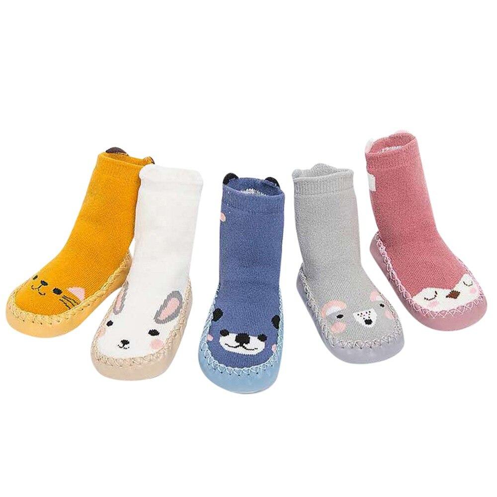 Kids Toddler Baby Girls Boys Cartoon Animal Thick Warm Anti-Slip Socks Slippers Cotton Thick Baby Toddler Socks Autumn Winter