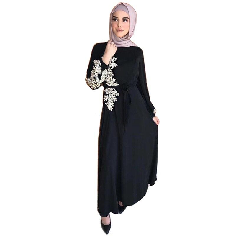 Arab women clothes female islam clothing muslim fashion abaya dress women beaded sequins dress Dubai muslim kimono abaya MSL249 1