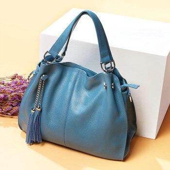 QIAOBAO 2020 New Fashion Soft Real Genuine Leather Tassel Women's Handbag Ladies Shoulder Tote Messenger Bag Purse Satchel