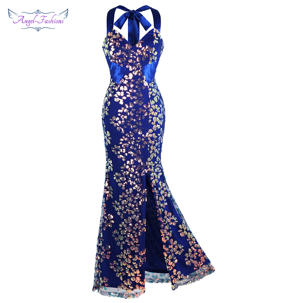 Angel-fashions Halter Floral Sequin Pleated Mermaid   Evening     Dresses   Long Slit Wedding Party   Dress   Blue 457