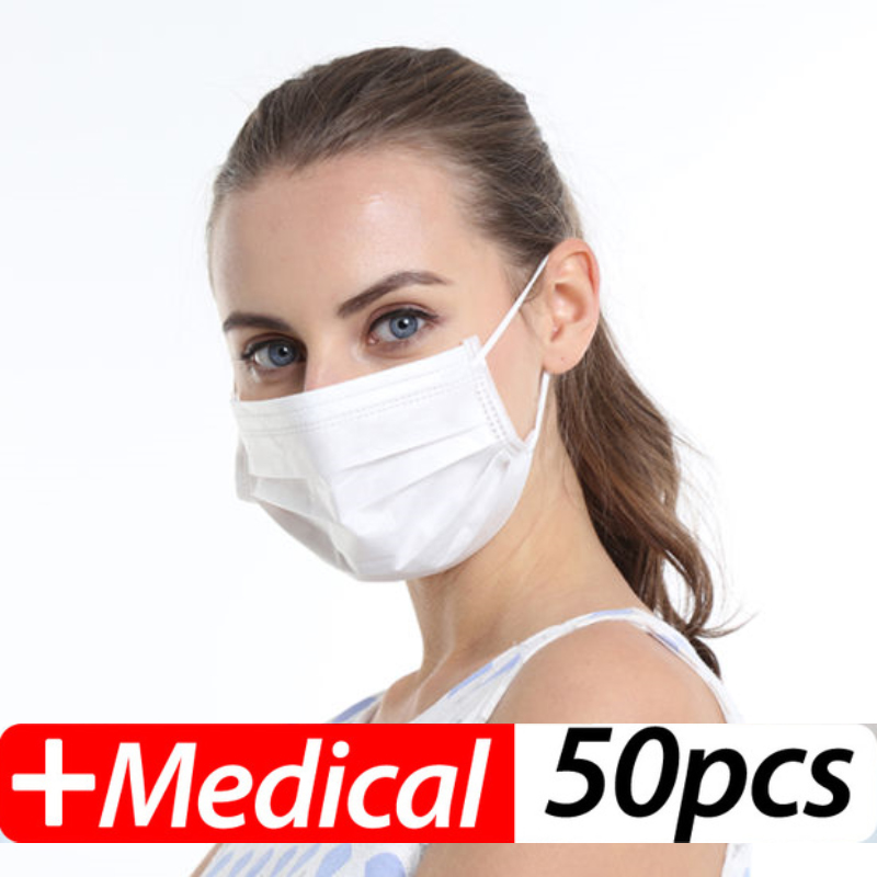 50Pcs Profession Face Masks Surgical 3-Ply PM2.5  Nonwoven Disposable Elastic Mouth Anti-Pollution Dust Filter Safety Mask