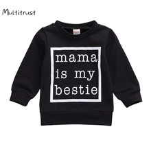 2020 Casual Newborn Baby Boy Girl Sweatshirt Baby Boy Autumn Spring Black White Letter Print Long Sleeve Tops Sweatshirt cheap Multitrust without Cotton Polyester Fits true to size take your normal size Regular Children Unisex Hoodies Full