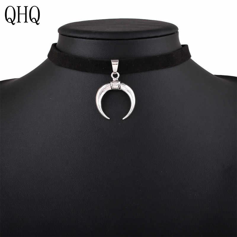 QHQ Mặt Dây Chuyền Đẹp, Mặt Dây Chuyền Nam Vô hình dây chuyền neckless cổ chocker thời trang mặt trăng handmade cho phụ kiện trang sức quà tặng Ngọc Bohemia