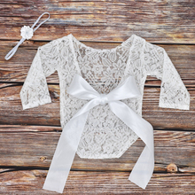 Newborn Photography Costumes Baby Girls Lace Jumpsuit Halter Hollow Butterfly Suit With Headband Photography Props Souvenirs