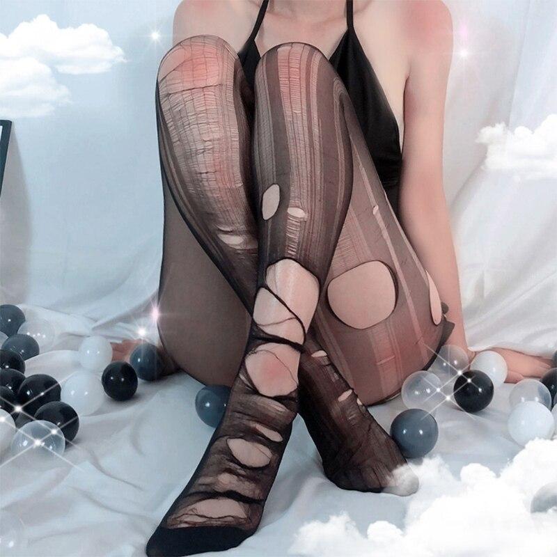 Женские Соблазнительные пикантные прочные колготки, прозрачные одноразовые колготки с дырками, чулки, нижнее белье, ночное белье