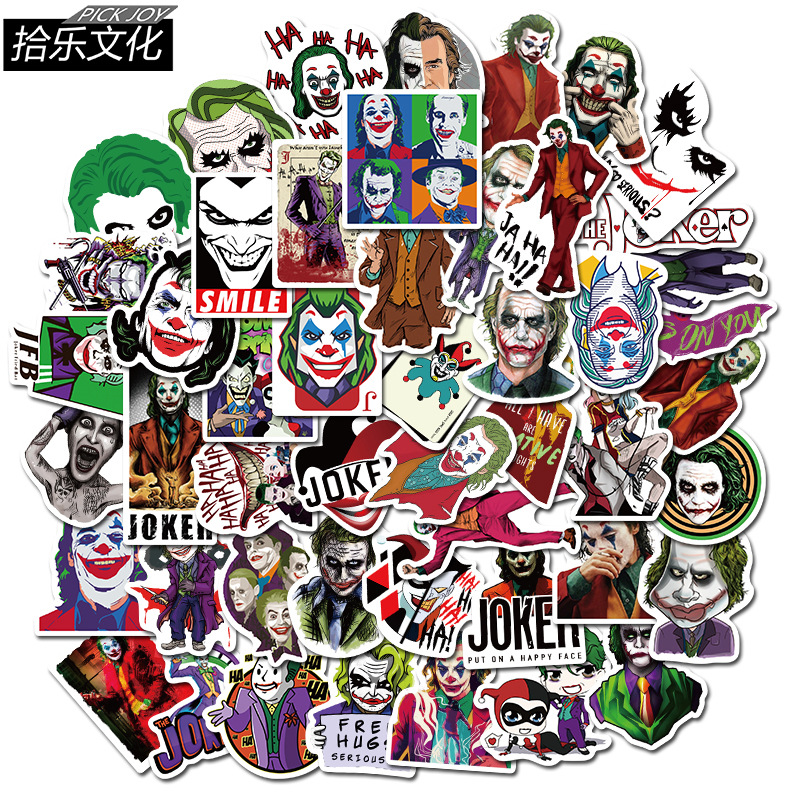 50PCS The Joker Heath Ledger Stickers For Luggage Skateboard Travel Case Water Cup  Laptop Motorcycle Cartoon Clown Stickers Toy