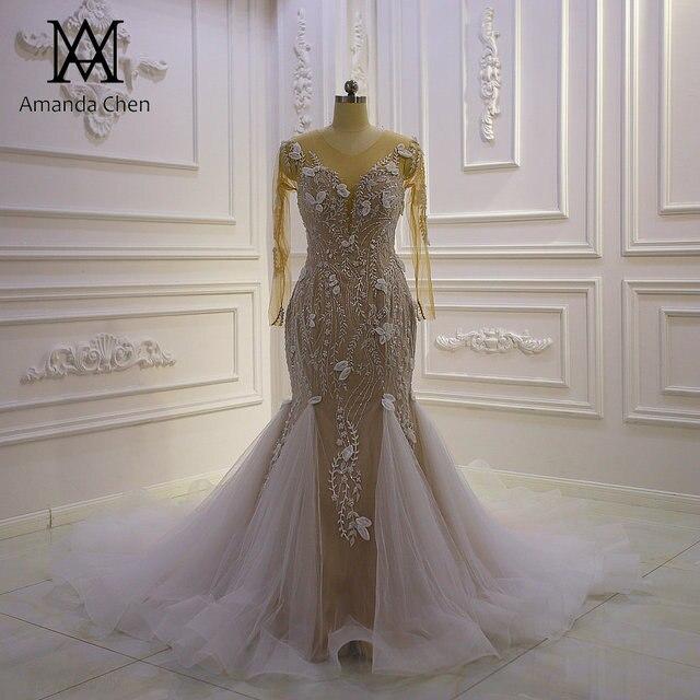Top Quality Long Sleeves Flowers Champagne Mermaid Wedding Dress 1
