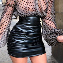 Sweetown – Mini jupe froncée en cuir PU pour femme, vêtement de bureau noir, élégant, Sexy, Slim, taille haute, Clubwear