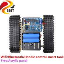 SZDOIT WIFI/Bluetooth/Handvat Control Metal Smart RC Robot Rupsbanden Tank Chassis Kit 12V DC Motor DIY voor Arduino Gratis Panel Speelgoed(China)