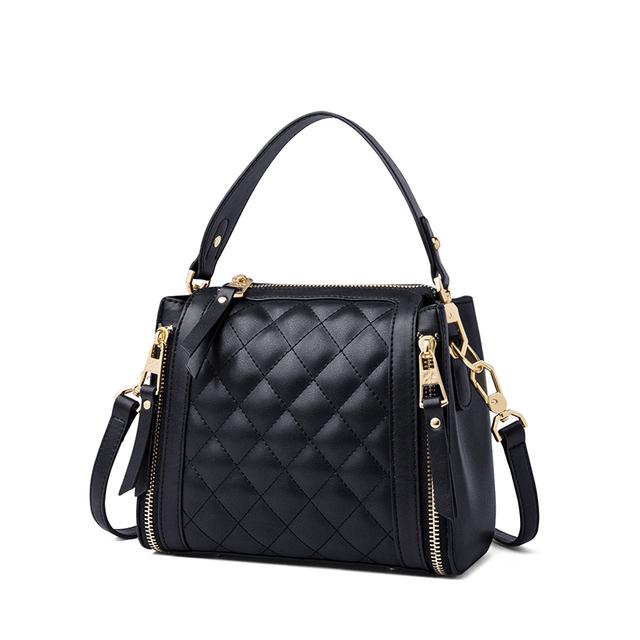 ZOOLER Exclusively Luxury Cow Leather Handbag Plaid Shoulder Bag Patchwork Handmade Women Bags#HS266