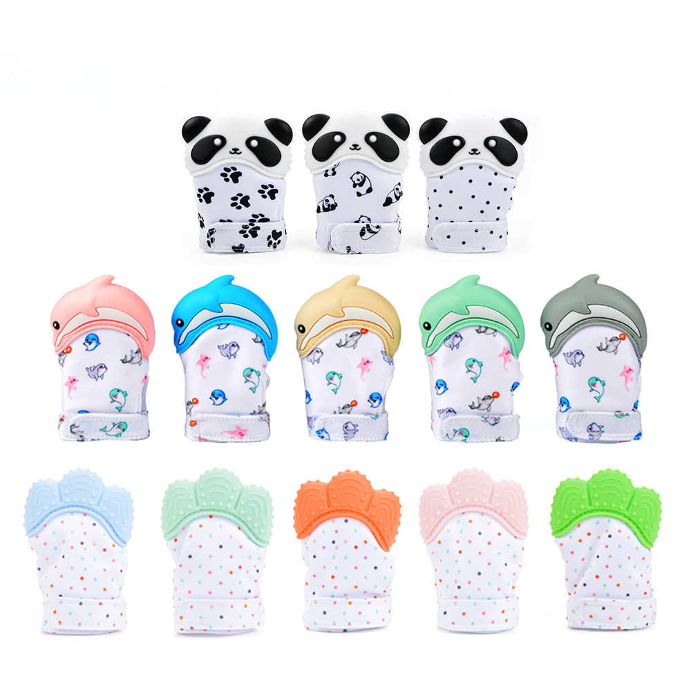 Chewable Bead Newborn Toddler  1PC Dolphin Panda Baby Teething Glove Pacifier Glove Teether  Mitten Wrapper Sound Teething