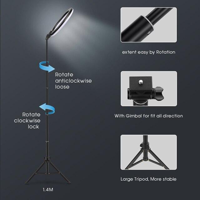 USB LED Selfie Ring mit Licht und Stativ 6
