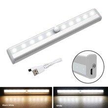 PIR lampy z czujnikiem ruchu lampka USB z możliwością ładowania 10 oświetlenie szafki LED pod ladą oświetlenie szafy patyczek magnetyczny lampka nocna