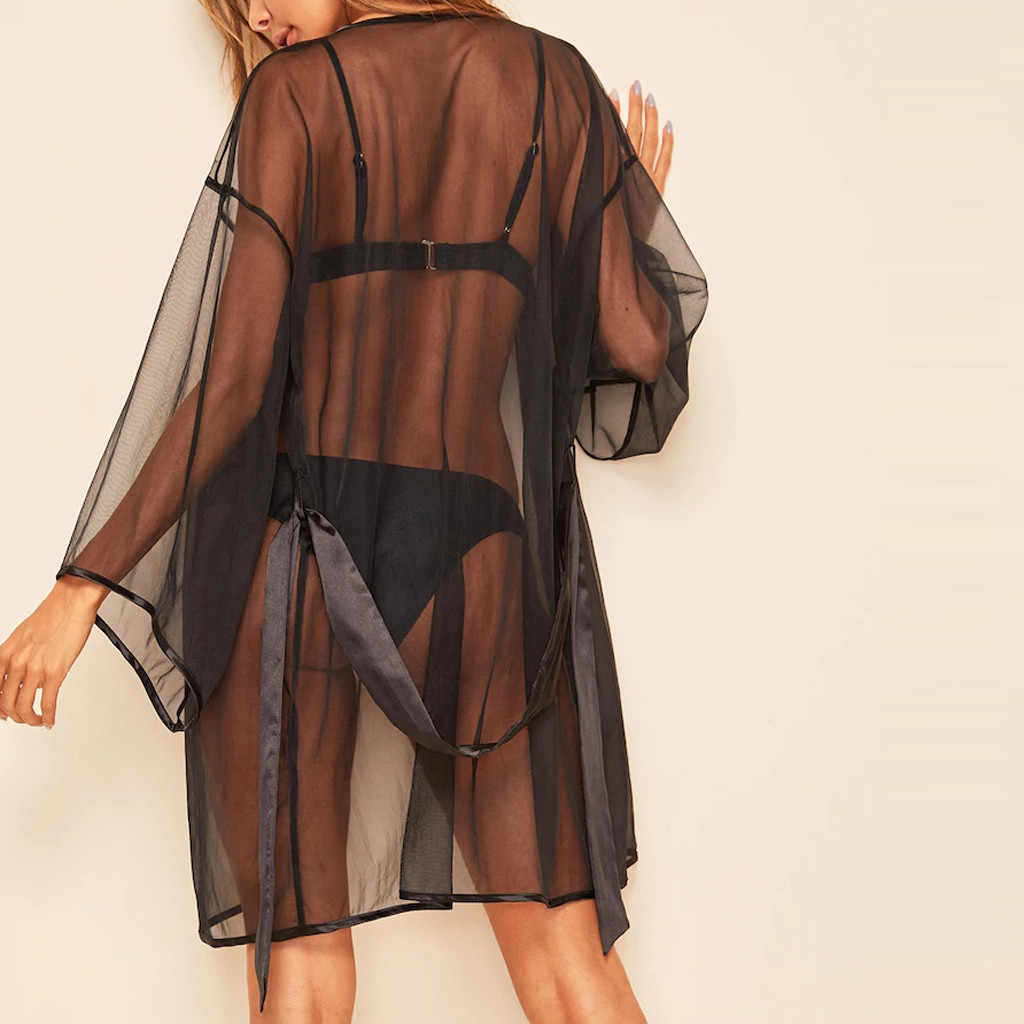 נשים רשת חלוק רחצה הלבשת סקסית תחרה שחור ארוך שרוול שקופה שקופה קימונו הלבשה תחתונה נשים כתנות לילה חלוקי רחצה