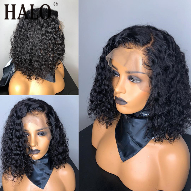 150% Remy Black Short Curly 13x4 Lace Front Human Hair Wigs With Baby Hair Brazilian Honey Blonde Bob Cut Wig For Black Woman