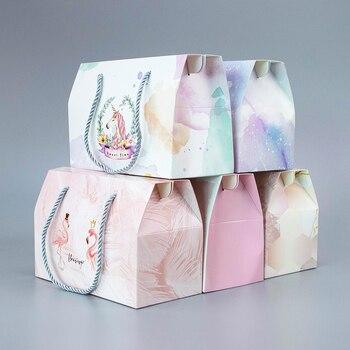 10 adet/renk taşınabilir kart kutusu tatil hediye şeker gıda pasta kağıt torba butik ambalaj kutusu