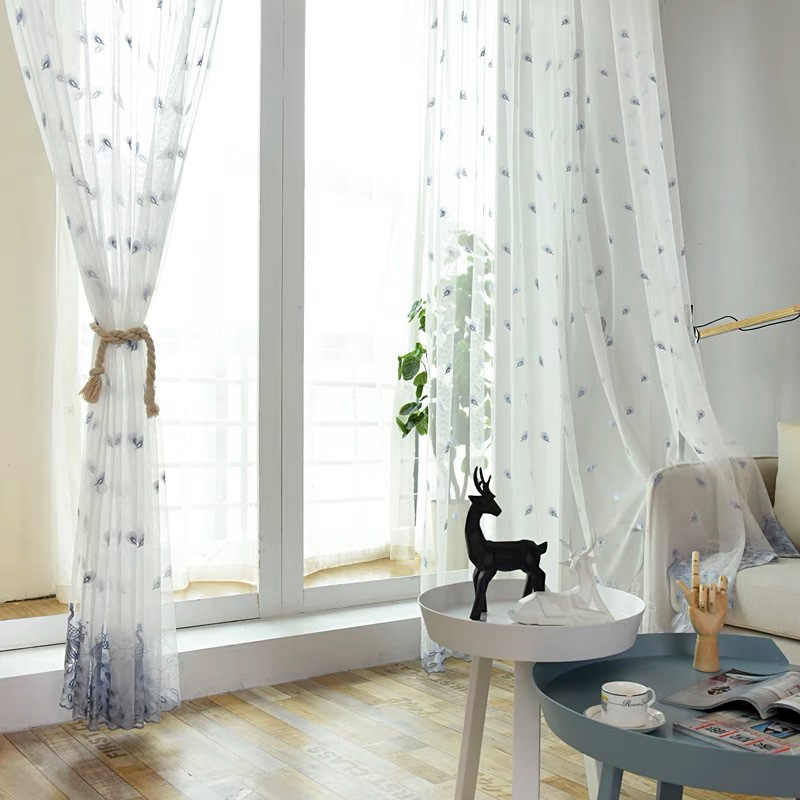 Embroidered Pink Peacock Feather Design Net Sheer Curtains for Living Room Bedroom Blue Beige Curtain Tulle Custom Drapery M0812