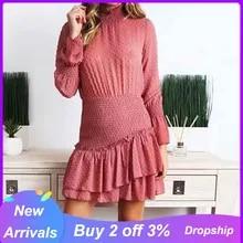 Autumn Dress Plus-Size Lace On-Sleeve Vestido Patchwork Women Elegant Short Solid