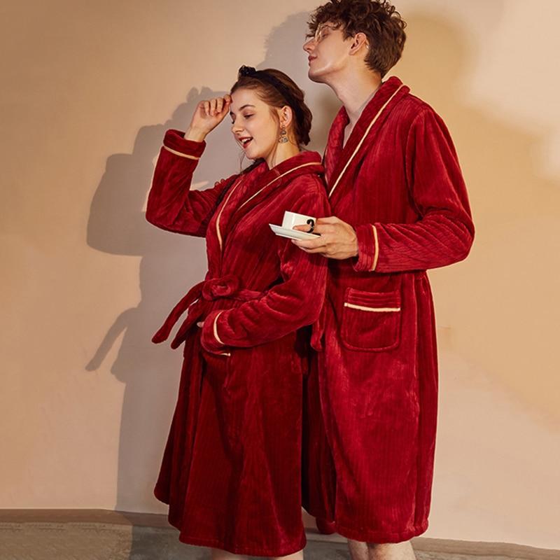 2018 hiver Couple Robe de bain corail velours épais chaud coton Robes pour hommes femmes lâche Long maison vêtements amant Kimono décontracté