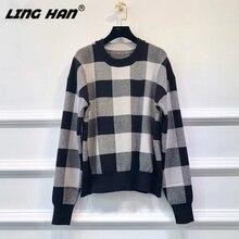 LINGHAN/модный осенний женский свитер с круглым вырезом в клетку для отдыха, тонкие свитера, дизайн