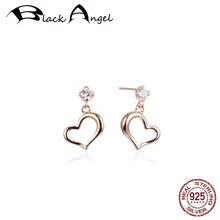 BLACK ANGEL 100% 925 Sterling Silver Sparkling Zircon Romantic Heart Crystal Stud Earrings For Women Rose Gold Wedding Jewelry недорого