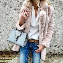 2020 Women Faux Fur Coats Winter Solid Fashion Open Point Ou