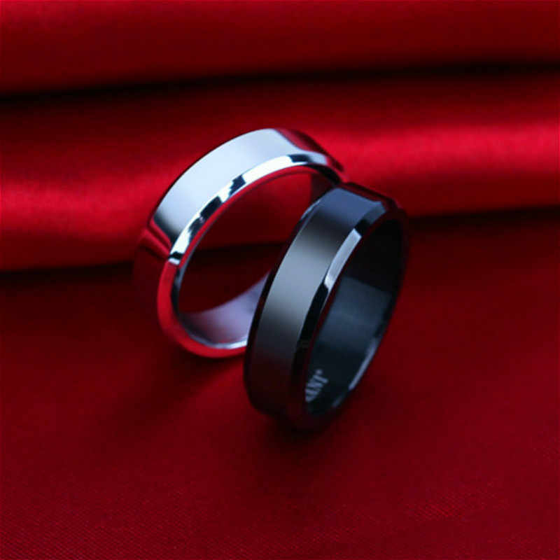 1pcs Fashion Bevel Edge Steel Titanium Finger Rings Party Favors