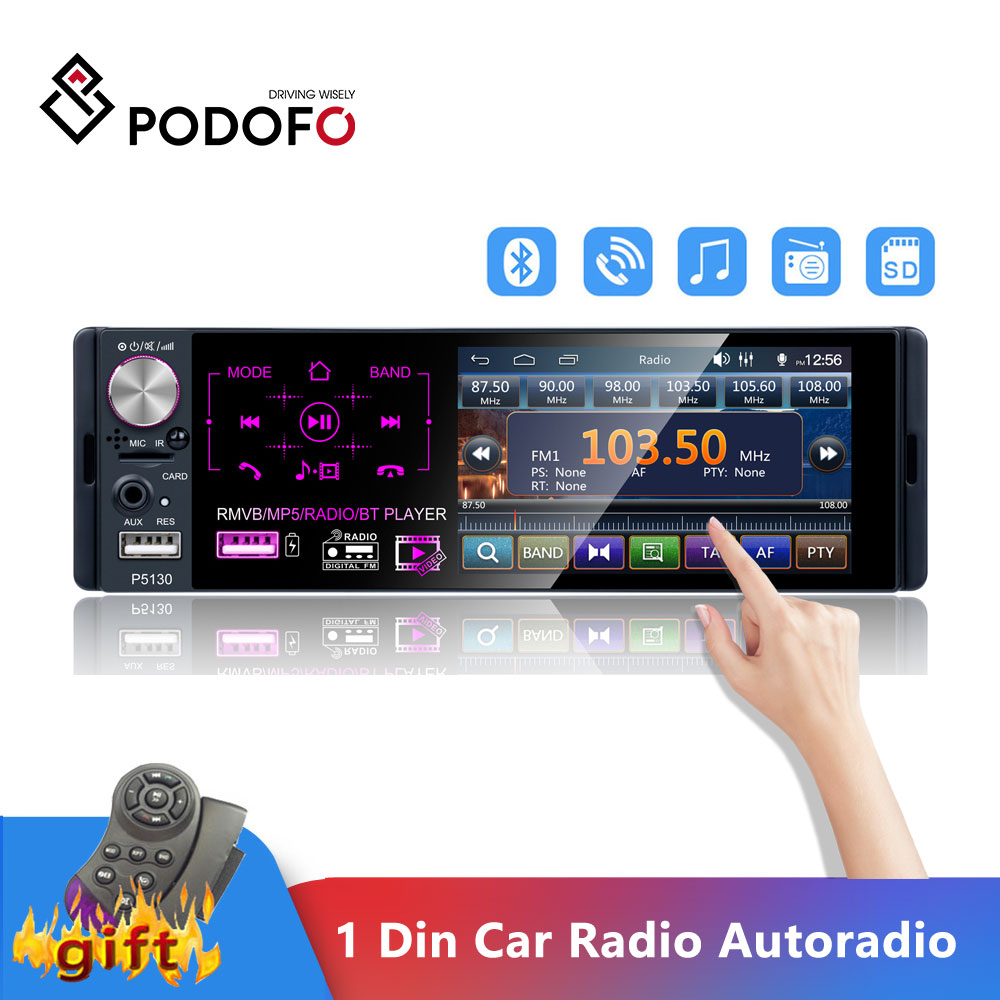 Podofo 1 Din Car Radio Audio Stereo RDS Microphone 4.1 Inch MP5 Autoradio Video Player USB MP3 TF ISO In-dash Multimedia Player