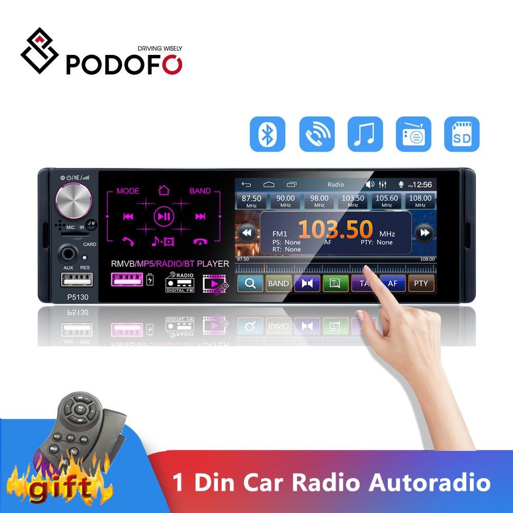 Podofo 1 Din Car Radio Audio Stereo RDS Microphone 4.1 Inch MP5 Autoradio Video Player USB MP3 TF ISO In-dash Multimedia Player