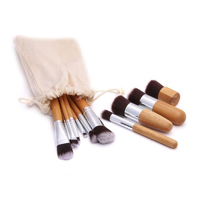 10/11PCS Fashion Bamboo Makeup Brushes Set with Bag Cosmetics Foundation Make Up Brush Tools Kit for Powder Blusher Eye Shadow 4