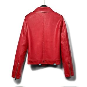 Image 2 - DK 2020 New Arrival Women Spring Leather Short Jacket Female Zipper Moto Biker Jacket  Faux Coat Black Red Outwear Plus Size