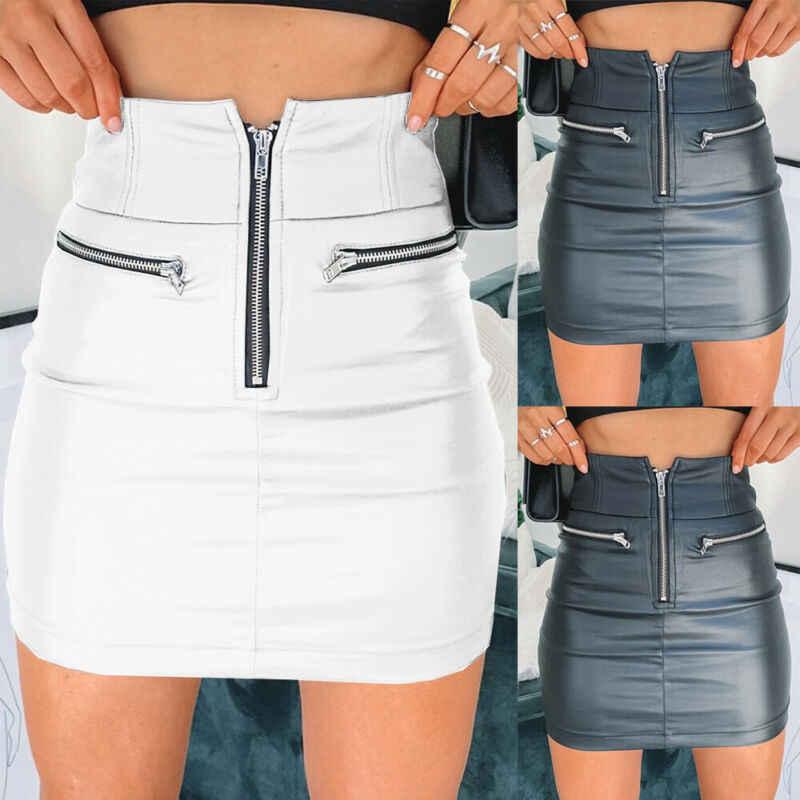 Womens PU Leather Zipper Skirt High Waist Pencil Evening Party Club Wear Fashion Bodycon Short Mini Skirt