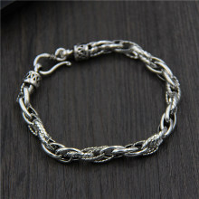 Genuine 925 Sterling Silver Unisex Chain-Link Bracelets Trendy Jewelry for