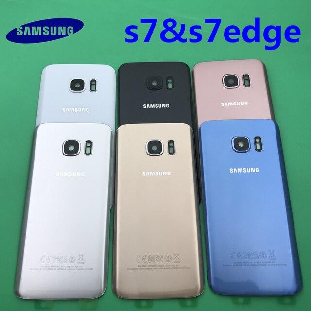 Samsung Galaxy S7 edge Original Back Battery Cover G930 G930F Case G935 G935F Rear Door Housing Glass Panel Replacement Part
