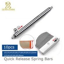 10 pces única mola de liberação rápida barras de aço inoxidável prateado relógio pinos 18mm 19mm 20mm 21mm 22mm 12-30mm pulseira barra de ligação