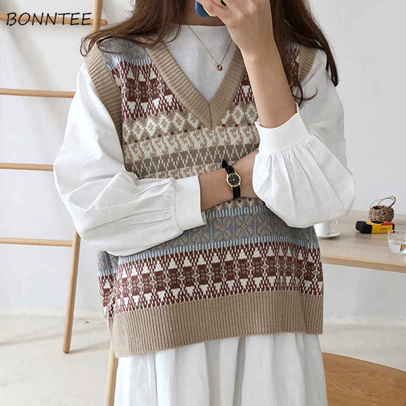 Vests Waistcoats Women Knitted Patchwork Pullover V-neck All-match Inside Womens Students Korean Style Harajuku Vintage Fashion